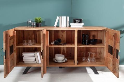 Casa Padrino Designer Sideboard Natur B.150 x H.85 x T.43 - Fernsehschrank - Kommode - Handgefertigt aus Massivholz! - Vorschau 2