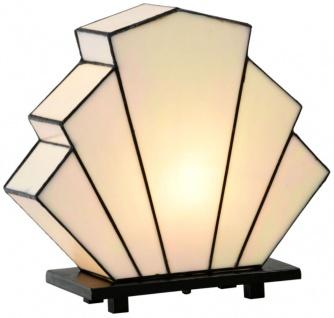 Casa Padrino Luxus Tiffany Tischleuchte in Fächerform Weiß / Schwarz 30 x 12 x H. 28 cm - Luxus Qualität
