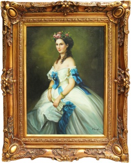 Casa Padrino Barock Öl Gemälde Damen Porträt Gold Prunk Rahmen 101 x H. 80 cm - Barockmöbel - Vorschau
