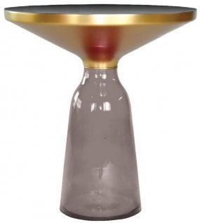 Casa Padrino Luxus Beistelltisch Schwarz / Grau / Gold Ø 50 x H. 53 cm - Runder Glas Tisch - Moderne Wohnzimmer Möbel