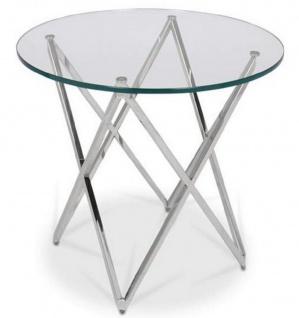 Casa Padrino Luxus Beistelltisch Silber Ø 60 x H. 55 cm - Runder Edelstahl Tisch mit Glasplatte - Luxus Möbel - Vorschau 2
