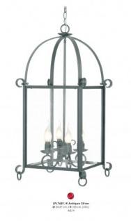 Casa Padrino Barock Hängeleuchte Silber Antik-Look, 4 Flammiger Kronleuchter, Durchmesser 37 cm, Höhe 100 cm - Barock Schloss Lampe