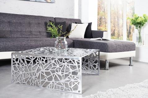 Casa Padrino Art Deco Couchtisch Silber Metall 75 x 35 cm- Jugendstil Tisch - Möbel Wohnzimmer - Vorschau 2