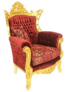 Casa Padrino Barock Wohnzimmer Set Master Bordeaux Muster Samtstoff / Gold - 2er Sofa + 2 Sessel - Limited Edition! - Vorschau 4