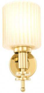 Casa Padrino Luxus Wandleuchte Gold / Vintage Weiß 13 x 18 x H. 28, 5 cm - Hotel & Restaurant Wandlampe mit Glas Lampenschirm - Vorschau 4