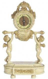 Casa Padrino Barock Tischuhr Engel Creme / Gold 23 x 14 x H. 37 cm - Deko Uhr im Barockstil - Vorschau