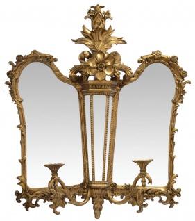 Casa Padrino Barock Spiegel / Wandspiegel mit Kerzenhalter Gold 79, 3 x H. 91, 8 cm - Edel & Prunkvoll