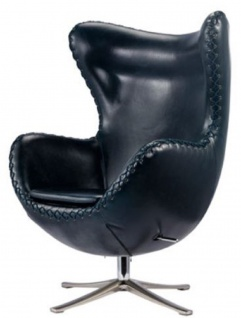 Casa Padrino Echtleder Chair Sessel Dunkelblau / Silber 78 x 83 x H. 110, 5 cm - Höhenverstellbarer Drehsessel - Leder Sessel - Echtleder Möbel