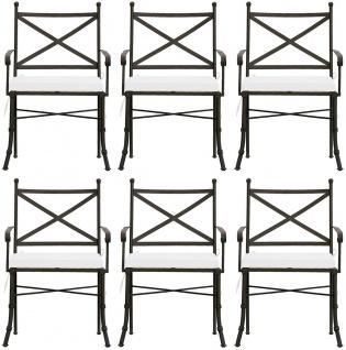 Casa Padrino Luxus Jugendstil Gartenstuhl Set mit Armlehnen und Sitzkissen Braun / Weiß 61 x 51 x H. 97 cm - Handgeschmiedete Esszimmer Stühle - Esszimmer Garten Terrassen Möbel - Vorschau 1