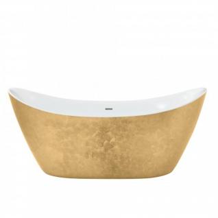 Casa Padrino Art Deco Badewanne freistehend Gold Modell He-Hyl 1730mm - Freistehende Retro Antik Jugendstil Badewanne