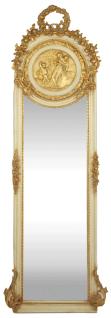Casa Padrino Barock Spiegel Creme / Gold 55 x H. 175 cm - Massiv und Schwer - Antik Stil Wandspiegel