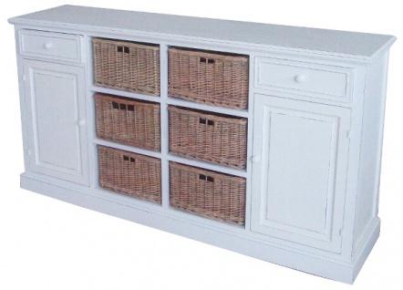 Casa Padrino Landhausstil Sideboard Weiß / Naturfarben 158 x 40 x H. 85 cm - Möbel im Landhausstil - Vorschau