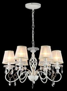 Casa Padrino Barock Kristall Decken Kronleuchter Weiß Gold 64 x H 44 cm Antik Stil - Möbel Lüster Leuchter Hängeleuchte Hängelampe