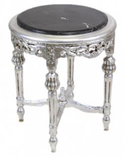 Casa Padrino Barock Beistelltisch mit schwarzer Marmorplatte Rund Silber 50 x 45 cm Antik Stil - Telefon Blumen Tisch