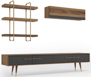 Casa Padrino Luxus Wohnzimmer TV Schrank Set Braun / Grau / Messingfarben - 1 TV Schrank & 1 Hängeschrank & 1 Wandregal - Edles Wohnzimmer Möbel Set - Luxus Möbel