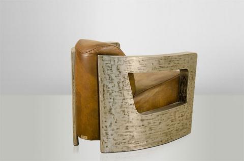Art Deco Echt Leder Sessel Mars Echt Leder Beige / Vintage Silber - Club Sessel - Lounge Sessel - Vorschau 2