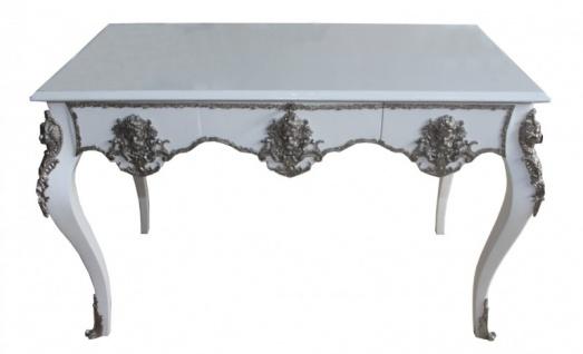 Casa Padrino Luxus Barock Schreibtisch Weiß / Silber Sekretär Luxus Möbel - Vorschau 4