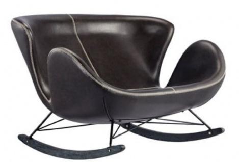 Casa Padrino Luxus Schaukelsessel Schwarz 127 x 100 x H. 85 cm - Leder Sessel - Wohnzimmer Sessel - Luxus Möbel