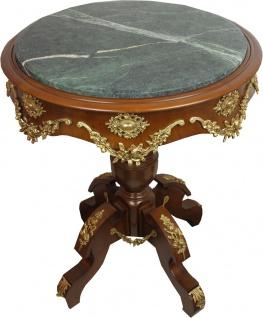 Casa Padrino Barock Beistelltisch mit Marmorplatte Braun / Gold Durchmesser 65 cm, Höhe 74 cm - Ludwig XVI Antik Stil Tisch