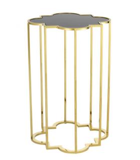 Casa Padrino Luxus Art Deco Designer Beistelltische 2er Set Gold mit schwarzem Glas - Designer Beistelltisch Möbel - Vorschau 3