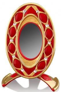 Casa Padrino Barock Bilderrahmen Rot / Gold 26 x 16 x H. 36 cm - Prunkvoller Keramik Bilderrahmen mit Swarovski Kristallglas
