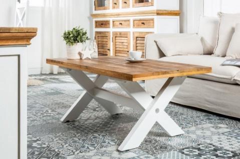 Casa Padrino Landhausstil Couchtisch Naturfarben / Weiß 110 x 60 x H. 45 cm - Handgefertigter Massivholz Wohnzimmertisch - Wohnzimmer Möbel im Landhausstil - Vorschau 2