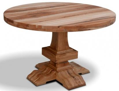 Casa Padrino Massivholz Küchentisch - Verschiedene Größen & Farben - Runder Luxus Eichenholz Esstisch - Rustikale Esszimmer Möbel