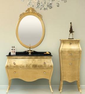 Casa Padrino Luxus Barock Badezimmer Set Schwarz / Gold - 1 Waschtisch & 1 Waschbecken & 1 Wandspiegel & 1 Kommode - Edel & Prunkvoll - Luxus Qualität
