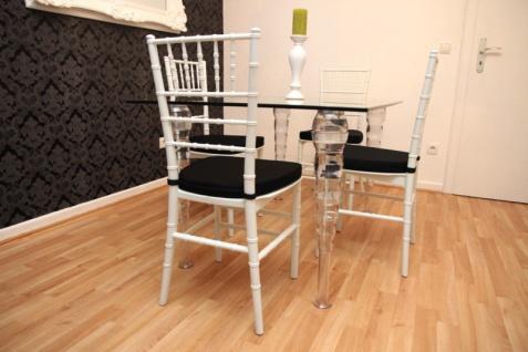 Designer Acryl Esszimmer Set Weiß/Schwarz - Ghost Chair Table - Polycarbonat Möbel - 1 Tisch + 4 Stühle - Casa Padrino Designer Möbel - Vorschau 5