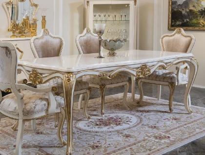 Casa Padrino Luxus Barock Esstisch Weiß / Gold - Edler Massivholz Esszimmertisch - Prunkvolle Barock Esszimmer Möbel