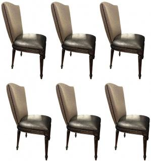 Casa Padrino Luxus Barock Esszimmerstuhl Set Gold / Schwarz - Küchen Stühle 6er Set - Barock Esszimmer Möbel - Edel & Prunkvoll