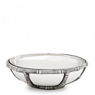 Casa Padrino Luxus Art Deco Schüssel Edelstahl vernickelt Antik Silber 27 x H. 8, 5 cm - Luxus Hotel Collection
