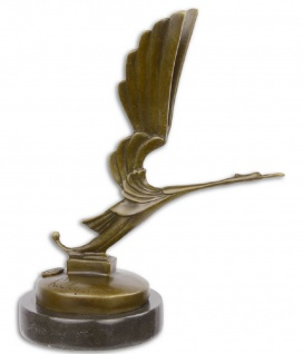 Casa Padrino Luxus Bronzefigur Storch Bronze / Schwarz 16, 7 x 9 x H. 20, 2 cm - Art Deco Bronze Skulptur mit Marmorsockel
