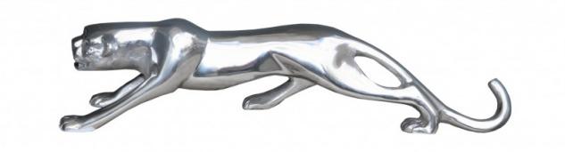 Casa Padrino Designer Panther aus poliertem Aluminium B 61 cm, H 14.5 cm - Alu Dekoration massive Skulptur