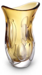 Casa Padrino Luxus Deko Glasvase Orange 20 x 13 x H. 30 cm - Elegante Blumenvase aus mundgeblasenem Glas - Deko Accessoires