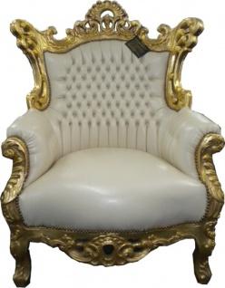 Casa Padrino Barock Sessel Al Capone Creme / Gold 90 x 80 x H. 128 cm - Möbel im Antik Stil