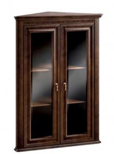 Casa Padrino Luxus Jugendstil Eckhängeschrank mit 2 Glastüren Dunkelbraun 82 x 52, 1 x H. 111, 6 cm - Wohnzimmermöbel