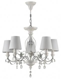 Casa Padrino Jugendstil Kristall Kronleuchter 5-Flammig Weiß / Grau Ø 60 x H. 50 cm - Barock & Jugendstil Lüster