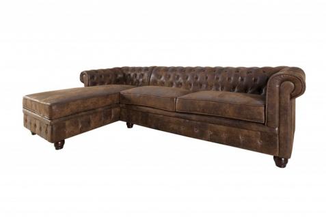 Casa Padrino Chesterfield Ecksofa links in Antikbraun - Wohnzimmer Möbel - Couch