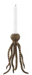 Casa Padrino Luxus Kerzenständer Krake Vintage Messing 15, 5 x 14 x H. 24, 5 cm - Messing Kerzenhalter