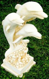 Casa Padrino Jugendstil Wasserspeier Skulptur Delfine Weiß / Sandfaben H. 80 cm - Gartendeko Wasserspeier Figur - Garten Deko Accessoires