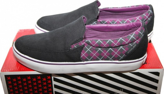 Dekline Skateboard Schuhe / Slip Ons / Slipper Captain Black/Purple - Slip On Shoes