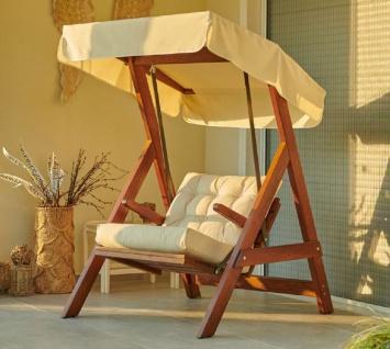 Casa Padrino Luxus Hollywood Schaukel Cremefarben / Braun - Moderne Wetterfeste Garten Schaukel mit Sonnendach - Terrassen Möbel - Garten Möbel - Luxus Kollektion - Vorschau 4