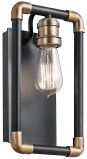 Casa Padrino Luxus Industrial Design Wandleuchte Schwarz / Messingfarben 17, 1 x 10, 6 x H. 30, 5 cm - Elegante Industrie Stil Wandlampe - Industrie Stil Leuchten