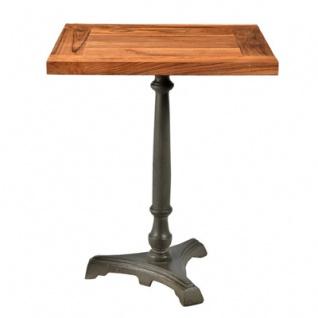 Casa Padrino Jugendstil Luxus Tisch / Beistelltisch Teak Holz / Eisen Mod2 60 x 60 x H74 cm - Cafe Restaurant Möbel