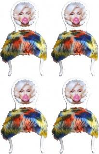 Casa Padrino Luxus Barock Esszimmer Set Marilyn Monroe Bubble Gum Crazy Mehrfarbig / Weiß 50 x 60 x H. 104 cm - 4 handgefertigte Esszimmerstühle mit Kunstfell und Bling Bling Glitzersteinen