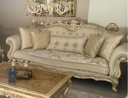 Casa Padrino Luxus Barock Sofa Gold / Antik Gold - Prunkvolles Wohnzimmer Sofa mit elegantem Muster - Barock Wohnzimmer Möbel