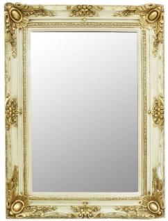 Casa Padrino Barock Spiegel Creme / Gold 90 x 10 x H. 120 cm - Handgefertigter Wandspiegel im Barockstil - Garderoben Spiegel - Wohnzimmer Spiegel - Barock Möbel