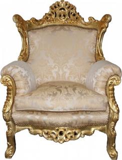 "Casa Padrino Barock Sessel "" Al Capone"" Mod2 Creme / Gold Möbel - Antik Stil"