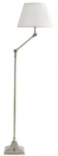 Casa Padrino Luxus Stehleuchte mit Schwenkarm Silber / Weiß Ø 30 x H. 115-143 cm - Höhenverstellbare Wohnzimmer Lampe